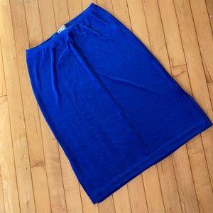 90s BCBG blue stretch midi skirt